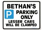 BETHAN'S Personalised Parking Sign Gift | Unique Car Present for Her |  Size Large - Metal faced